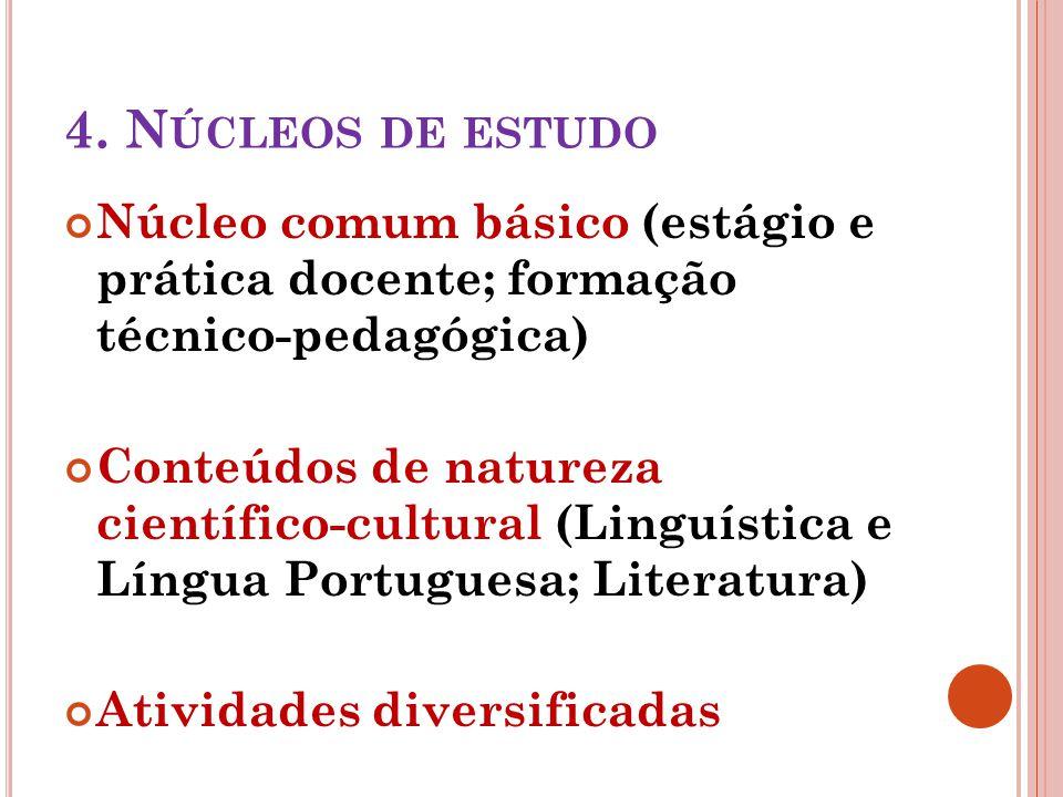 4. N ÚCLEOS DE ESTUDO Núcleo comum básico (estágio e prática docente; formação técnico-pedagógica) Conteúdos de natureza científico-cultural (Linguíst