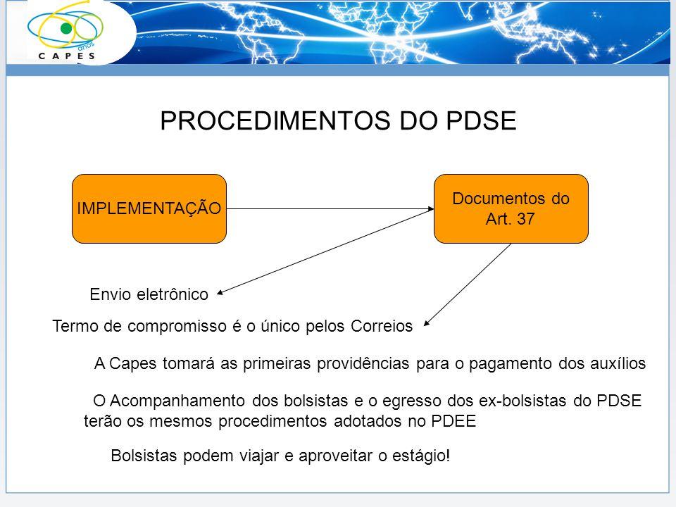 PROCEDIMENTOS DO PDSE IMPLEMENTAÇÃO Documentos do Art. 37 Envio eletrônico Termo de compromisso é o único pelos Correios A Capes tomará as primeiras p