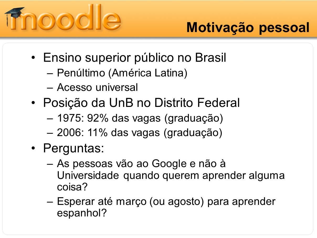 Motivação pessoal Ensino superior público no Brasil –Penúltimo (América Latina) –Acesso universal Posição da UnB no Distrito Federal –1975: 92% das va
