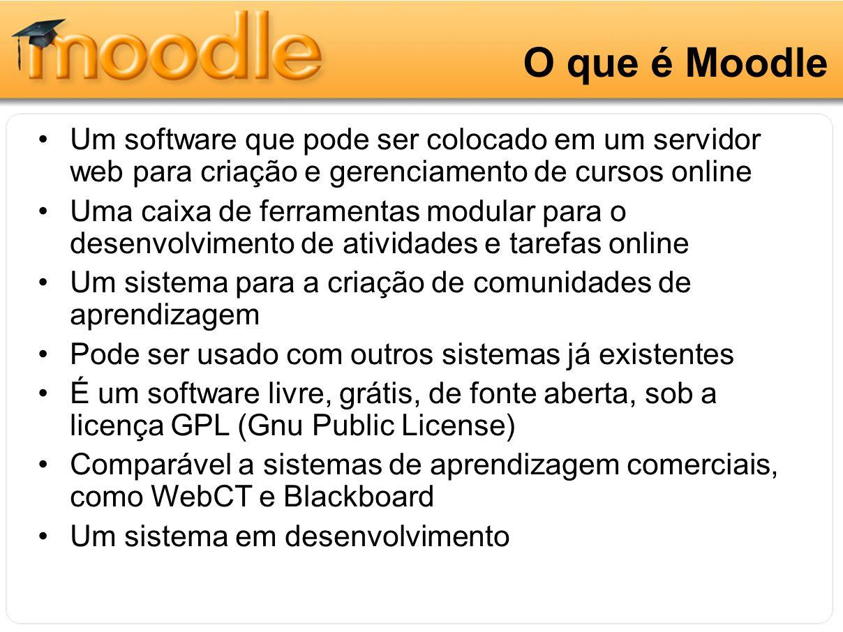 O que é Moodle Um software que pode ser colocado em um servidor web para criação e gerenciamento de cursos online Uma caixa de ferramentas modular par