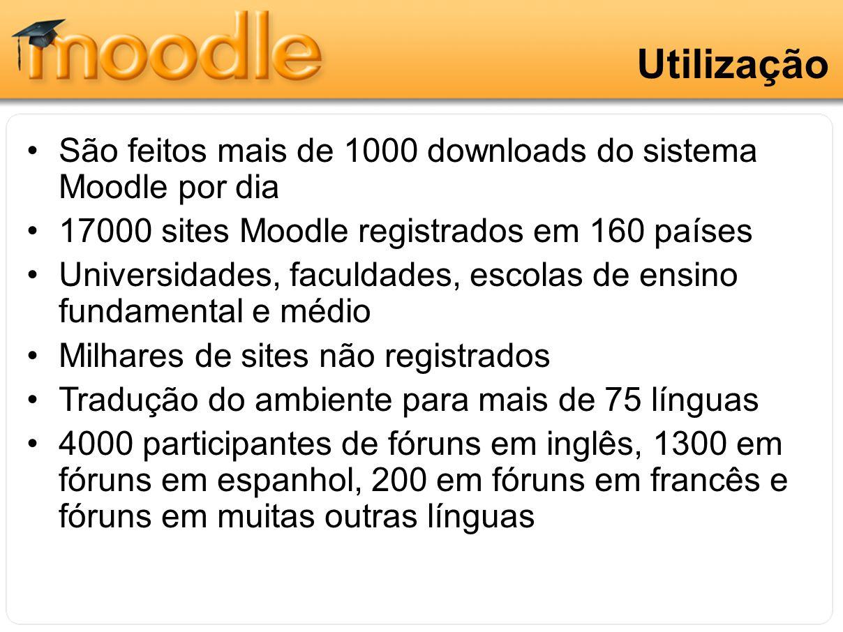 Utilização São feitos mais de 1000 downloads do sistema Moodle por dia 17000 sites Moodle registrados em 160 países Universidades, faculdades, escolas