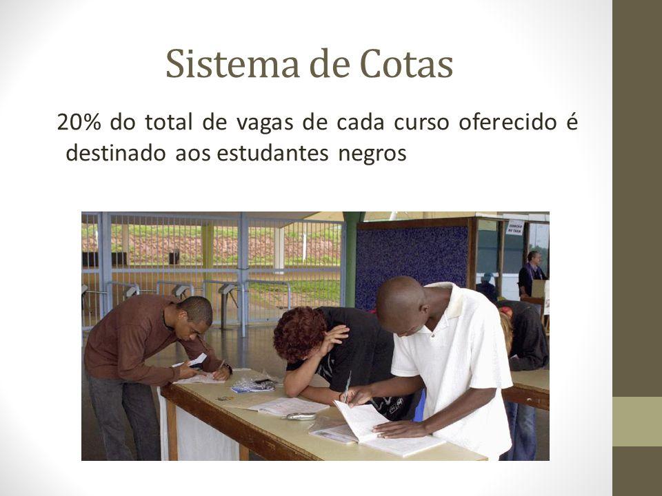 Sistema de Cotas 20% do total de vagas de cada curso oferecido é destinado aos estudantes negros