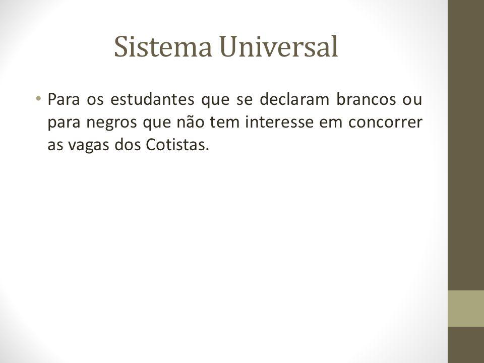 Sistema Universal Para os estudantes que se declaram brancos ou para negros que não tem interesse em concorrer as vagas dos Cotistas.