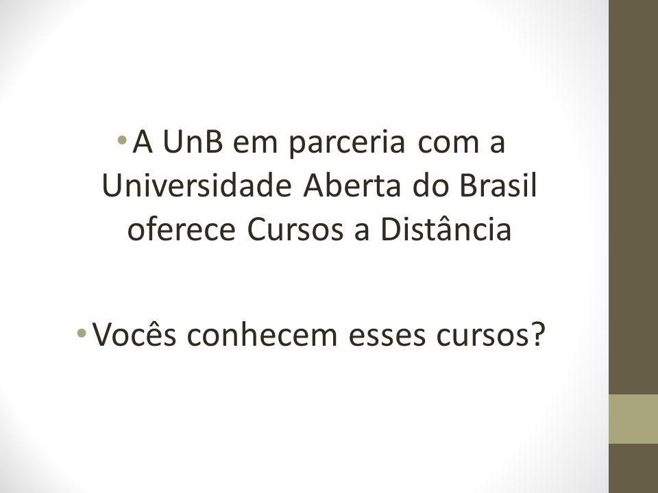 A UnB em parceria com a Universidade Aberta do Brasil oferece Cursos a Distância Vocês conhecem esses cursos?