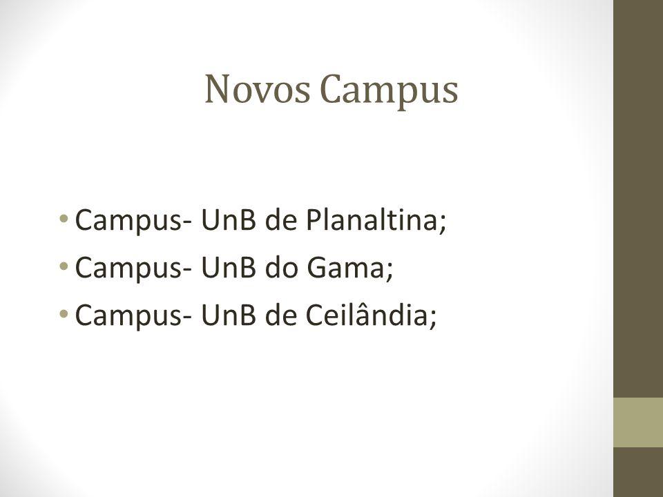Campus- UnB de Planaltina; Campus- UnB do Gama; Campus- UnB de Ceilândia; Novos Campus