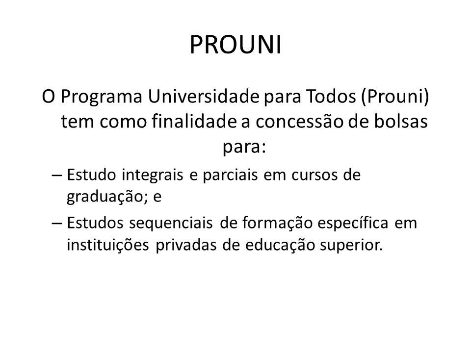 PROUNI O Programa Universidade para Todos (Prouni) tem como finalidade a concessão de bolsas para: – Estudo integrais e parciais em cursos de graduaçã