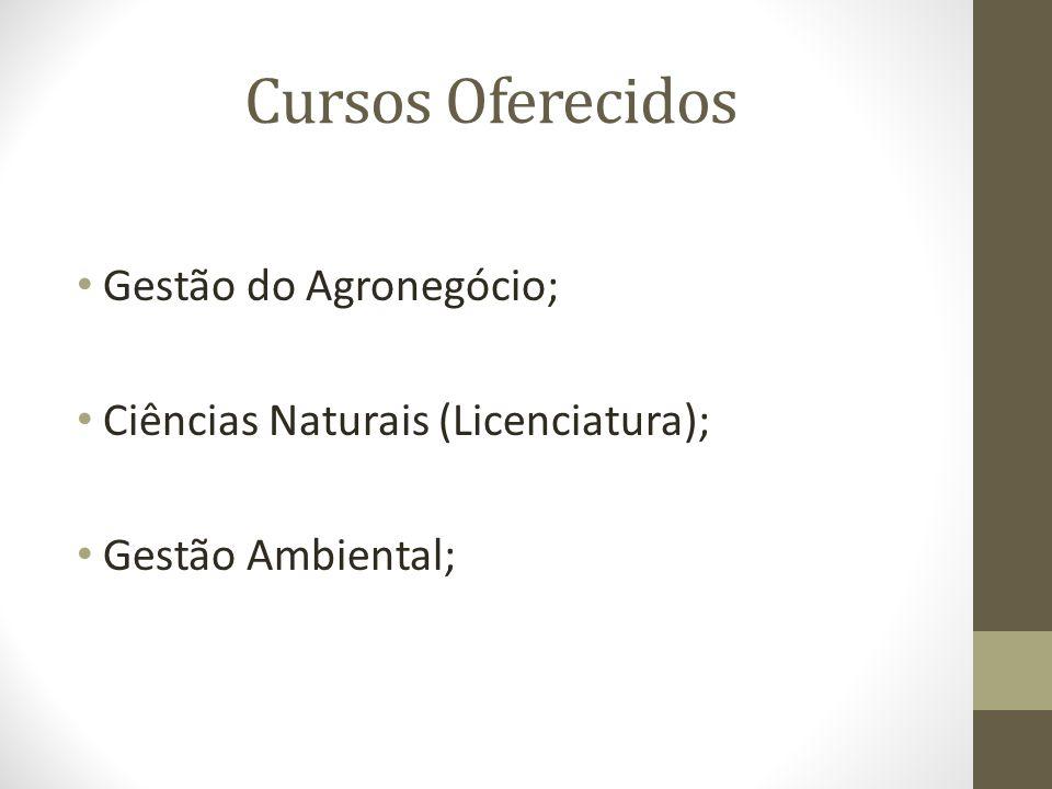 Cursos Oferecidos Gestão do Agronegócio; Ciências Naturais (Licenciatura); Gestão Ambiental;
