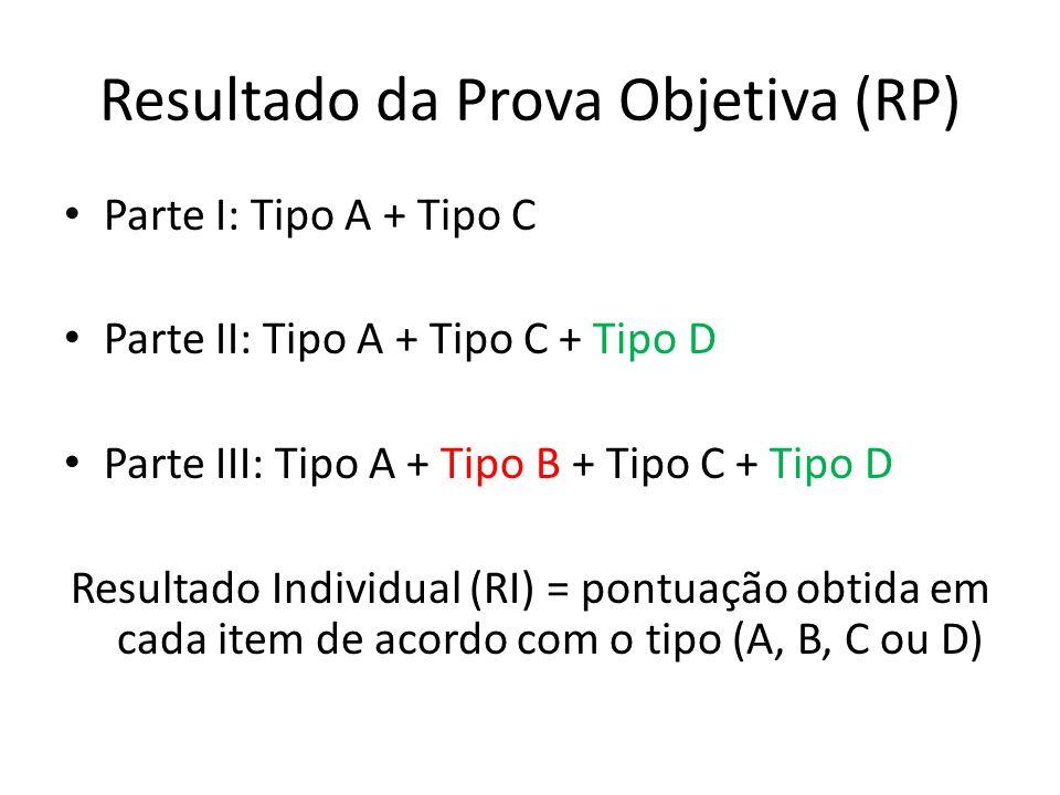 Resultado da Prova Objetiva (RP) Parte I: Tipo A + Tipo C Parte II: Tipo A + Tipo C + Tipo D Parte III: Tipo A + Tipo B + Tipo C + Tipo D Resultado In
