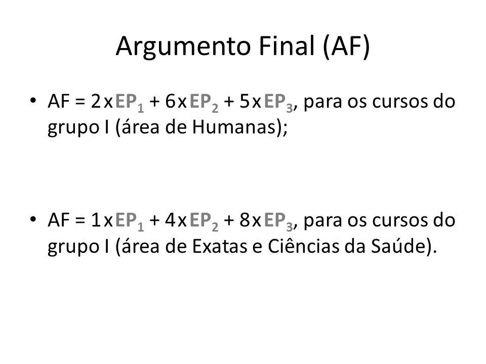 Argumento Final (AF) AF = 2 x EP 1 + 6 x EP 2 + 5 x EP 3, para os cursos do grupo I (área de Humanas); AF = 1 x EP 1 + 4 x EP 2 + 8 x EP 3, para os cu