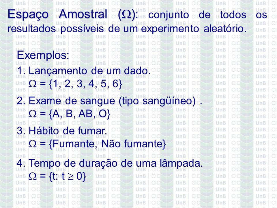 Espaço Amostral ( ) Espaço Amostral ( ) : conjunto de todos os resultados possíveis de um experimento aleatório. 4. Tempo de duração de uma lâmpada. =