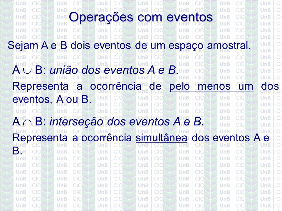 A B: interseção dos eventos A e B. Representa a ocorrência simultânea dos eventos A e B. Operações com eventos Sejam A e B dois eventos de um espaço a