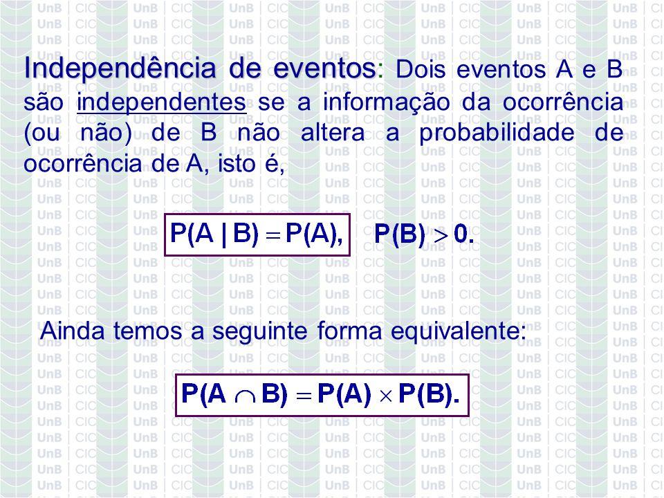 Independência de eventos Independência de eventos : Dois eventos A e B são independentes se a informação da ocorrência (ou não) de B não altera a prob