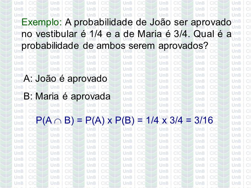Exemplo: A probabilidade de João ser aprovado no vestibular é 1/4 e a de Maria é 3/4. Qual é a probabilidade de ambos serem aprovados? A: João é aprov