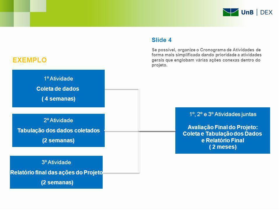 1º Atividade Coleta de dados ( 4 semanas) 2º Atividade Tabulação dos dados coletados (2 semanas) 3º Atividade Relatório final das ações do Projeto (2