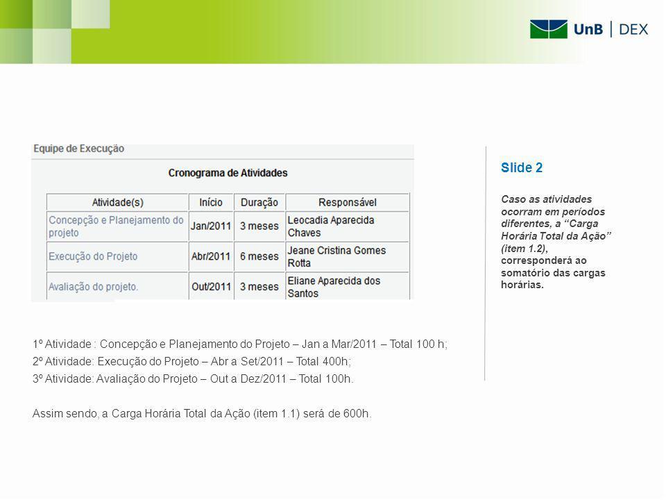 1º Atividade : Concepção e Planejamento do Projeto – Jan a Mar/2011 – Total 100 h; 2º Atividade: Execução do Projeto – Abr a Set/2011 – Total 400h; 3º