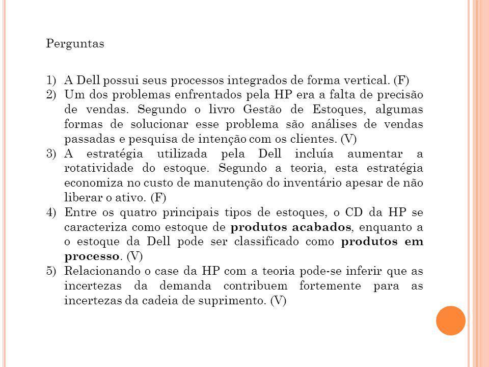 Perguntas 1)A Dell possui seus processos integrados de forma vertical.
