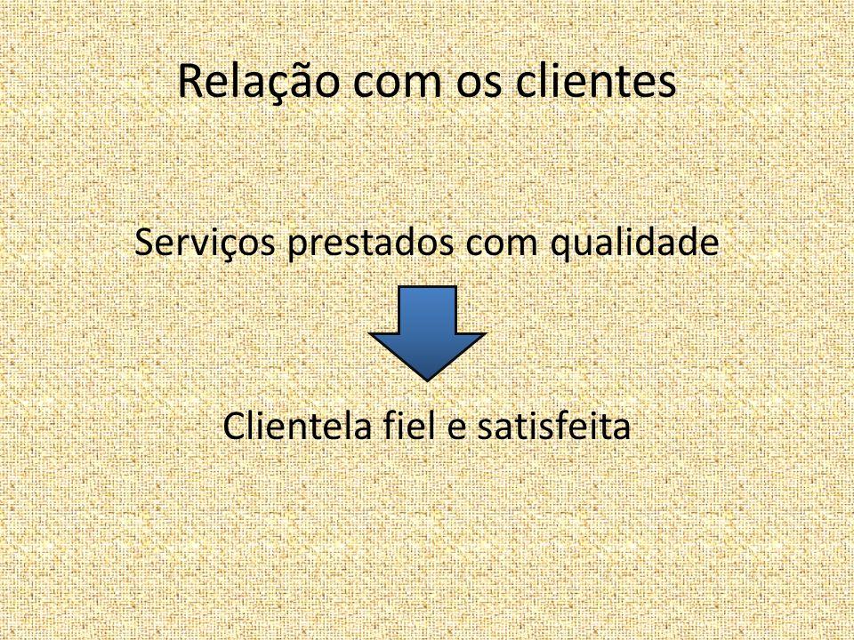 Relação com os clientes Serviços prestados com qualidade Clientela fiel e satisfeita