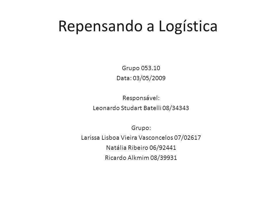Grupo 053.10 Data: 03/05/2009 Responsável: Leonardo Studart Batelli 08/34343 Grupo: Larissa Lisboa Vieira Vasconcelos 07/02617 Natália Ribeiro 06/92441 Ricardo Alkmim 08/39931 Repensando a Logística