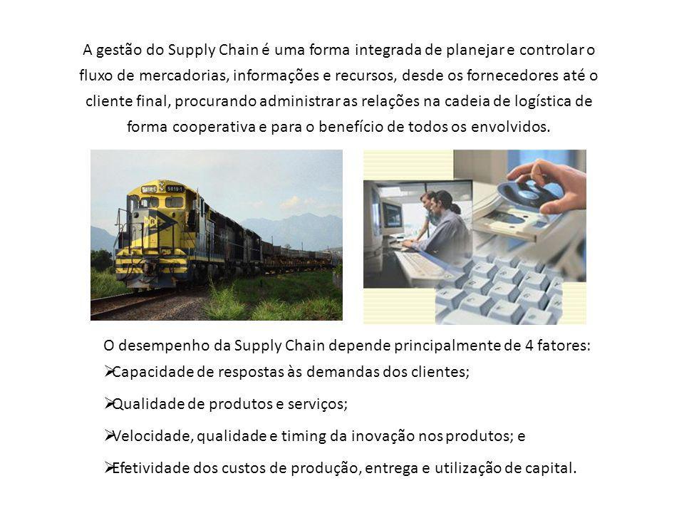 A gestão do Supply Chain é uma forma integrada de planejar e controlar o fluxo de mercadorias, informações e recursos, desde os fornecedores até o cliente final, procurando administrar as relações na cadeia de logística de forma cooperativa e para o benefício de todos os envolvidos.