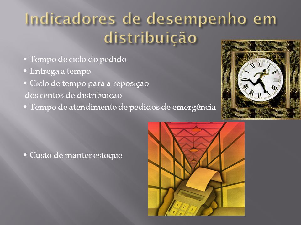 Tempo de ciclo do pedido Entrega a tempo Ciclo de tempo para a reposição dos centos de distribuição Tempo de atendimento de pedidos de emergência Custo de manter estoque