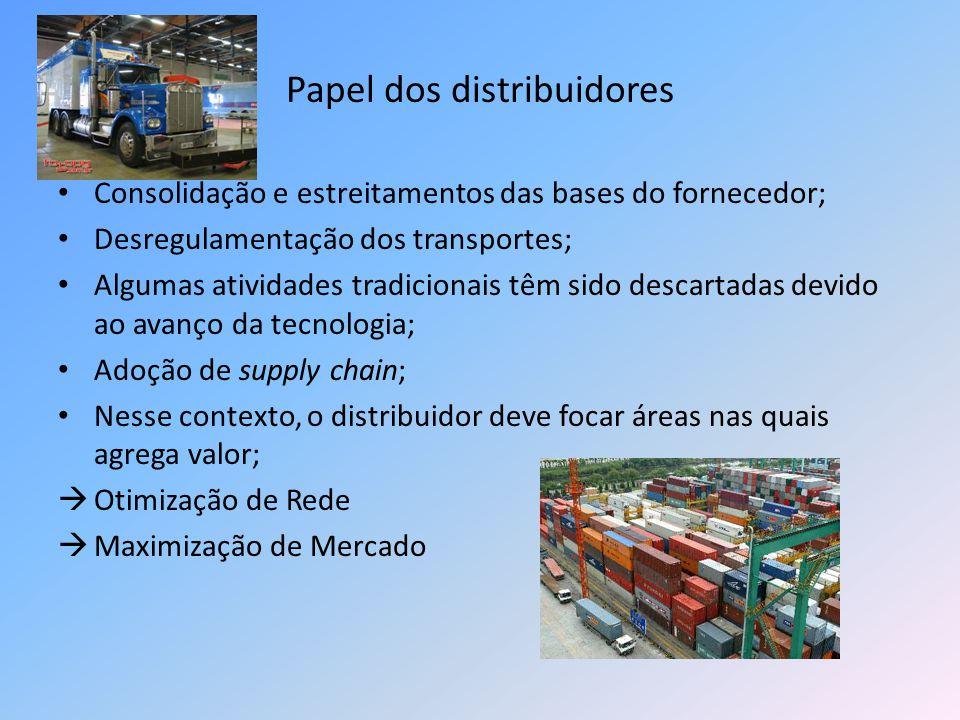 Papel dos distribuidores Consolidação e estreitamentos das bases do fornecedor; Desregulamentação dos transportes; Algumas atividades tradicionais têm