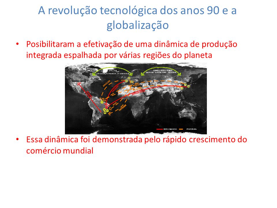 A revolução tecnológica dos anos 90 e a globalização Posibilitaram a efetivação de uma dinâmica de produção integrada espalhada por várias regiões do