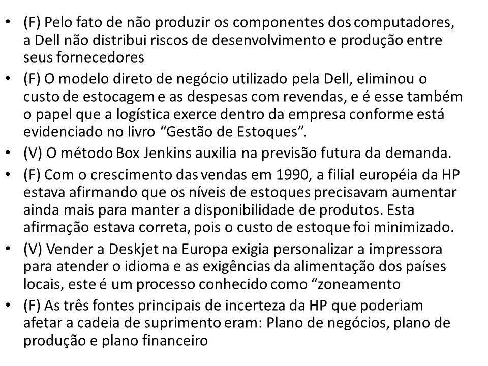 (F) Pelo fato de não produzir os componentes dos computadores, a Dell não distribui riscos de desenvolvimento e produção entre seus fornecedores (F) O