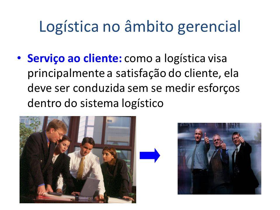 Logística no âmbito gerencial Serviço ao cliente: como a logística visa principalmente a satisfação do cliente, ela deve ser conduzida sem se medir es
