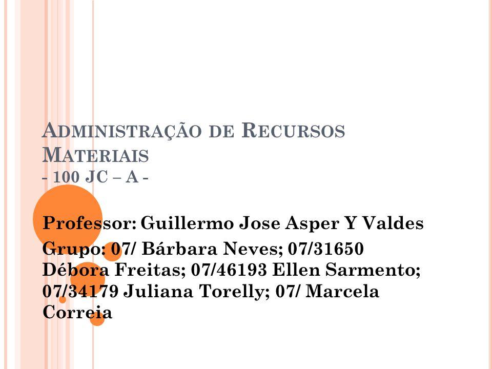 A DMINISTRAÇÃO DE R ECURSOS M ATERIAIS - 100 JC – A - Professor: Guillermo Jose Asper Y Valdes Grupo: 07/ Bárbara Neves; 07/31650 Débora Freitas; 07/46193 Ellen Sarmento; 07/34179 Juliana Torelly; 07/ Marcela Correia