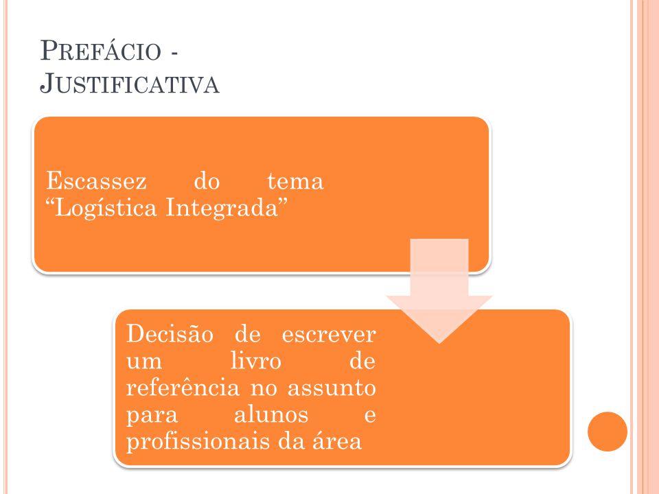 P REFÁCIO - J USTIFICATIVA Escassez do tema Logística Integrada Decisão de escrever um livro de referência no assunto para alunos e profissionais da á