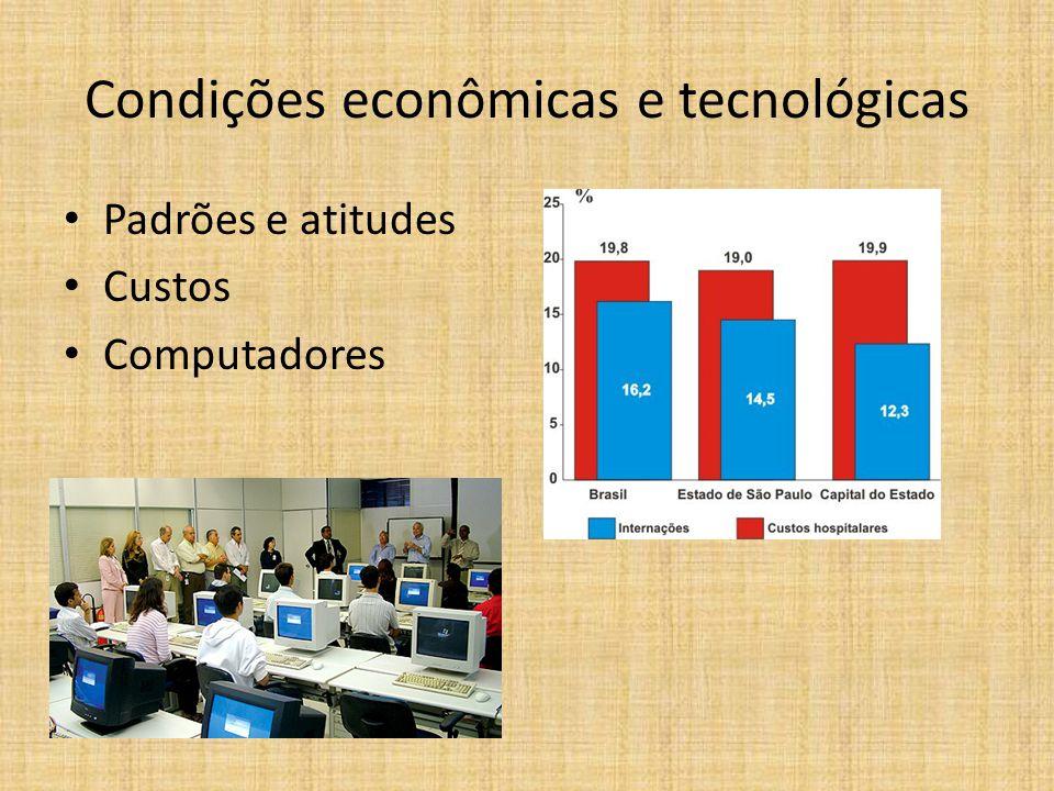 Condições econômicas e tecnológicas Padrões e atitudes Custos Computadores