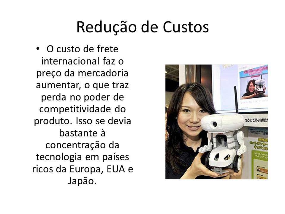 Redução de Custos O custo de frete internacional faz o preço da mercadoria aumentar, o que traz perda no poder de competitividade do produto.