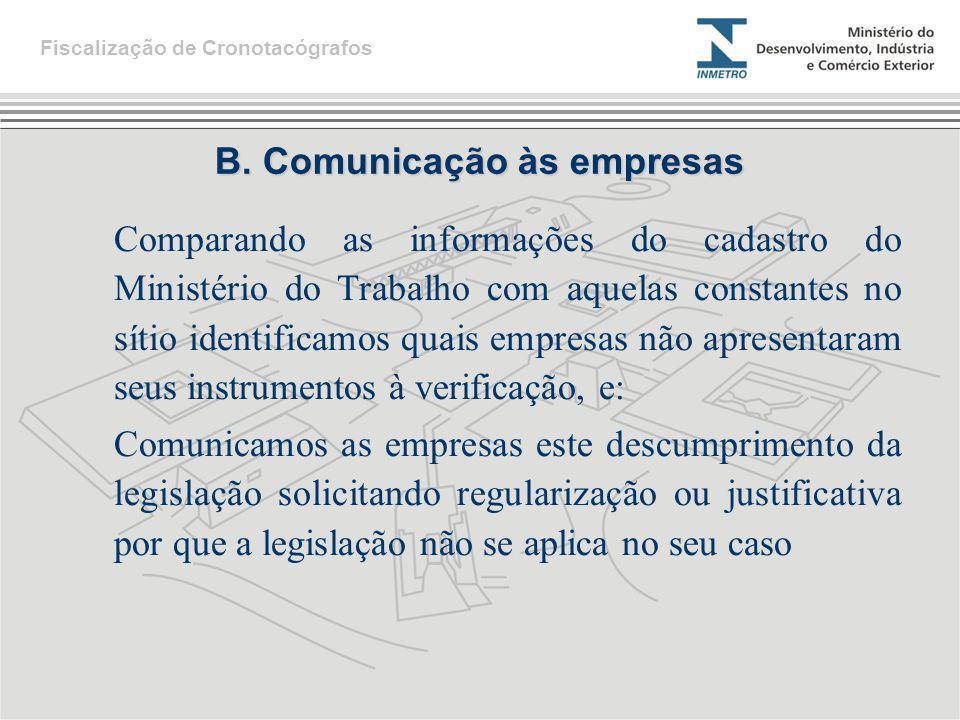 B. Comunicação às empresas Comparando as informações do cadastro do Ministério do Trabalho com aquelas constantes no sítio identificamos quais empresa
