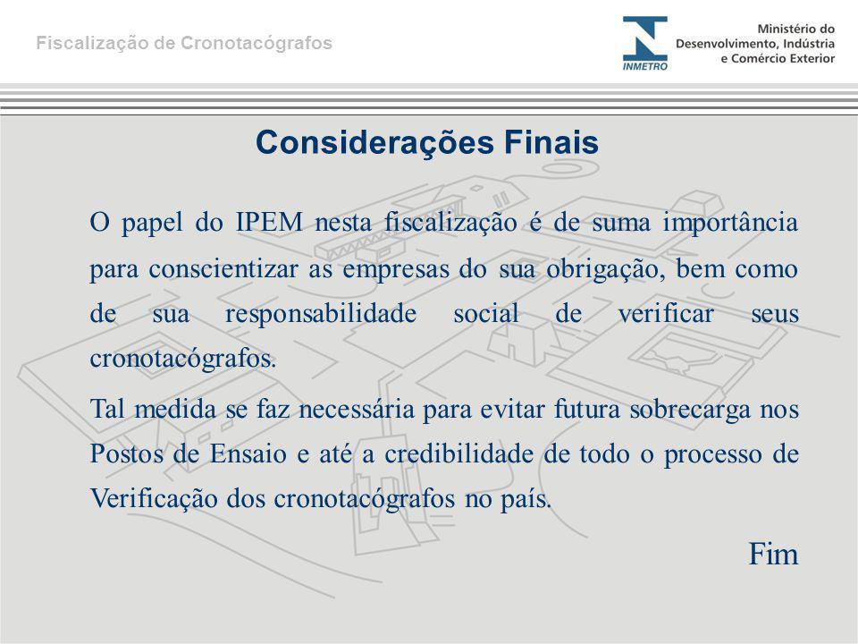 Considerações Finais Fiscalização de Cronotacógrafos O papel do IPEM nesta fiscalização é de suma importância para conscientizar as empresas do sua ob