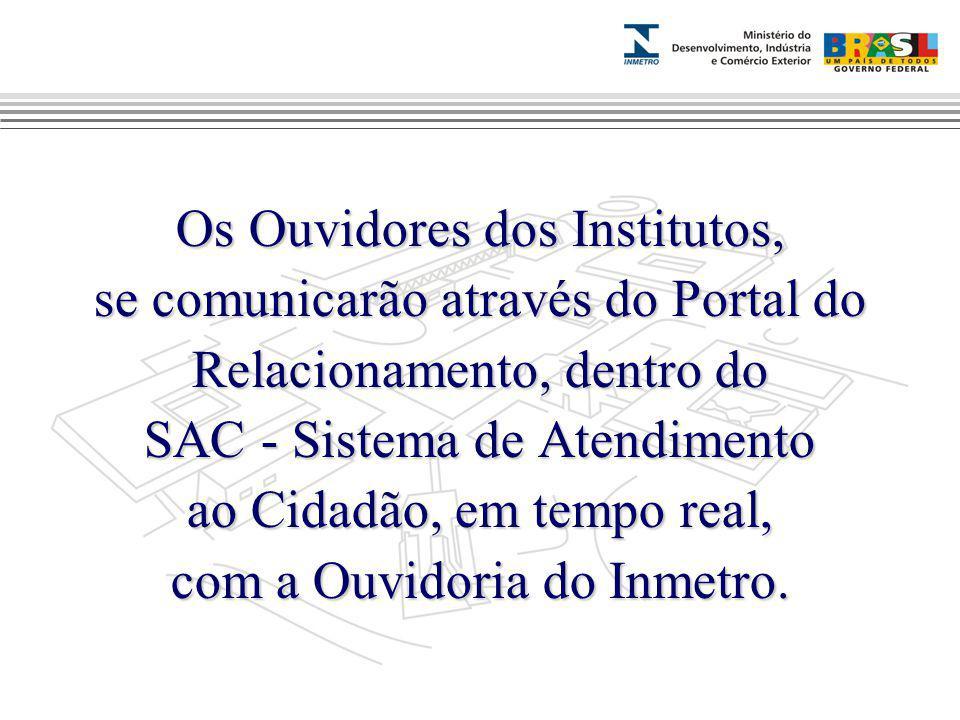 Marca do evento Os Ouvidores dos Institutos, se comunicarão através do Portal do Relacionamento, dentro do SAC - Sistema de Atendimento ao Cidadão, em tempo real, com a Ouvidoria do Inmetro.