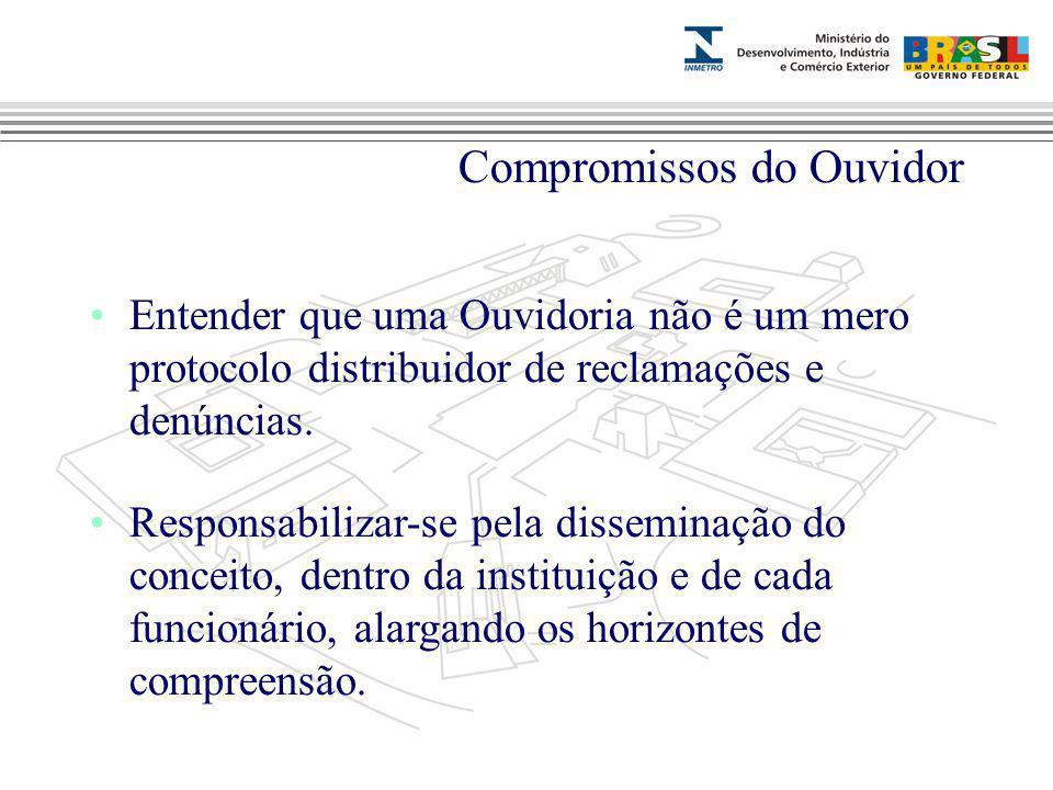 Marca do evento Compromissos do Ouvidor Entender que uma Ouvidoria não é um mero protocolo distribuidor de reclamações e denúncias. Responsabilizar-se