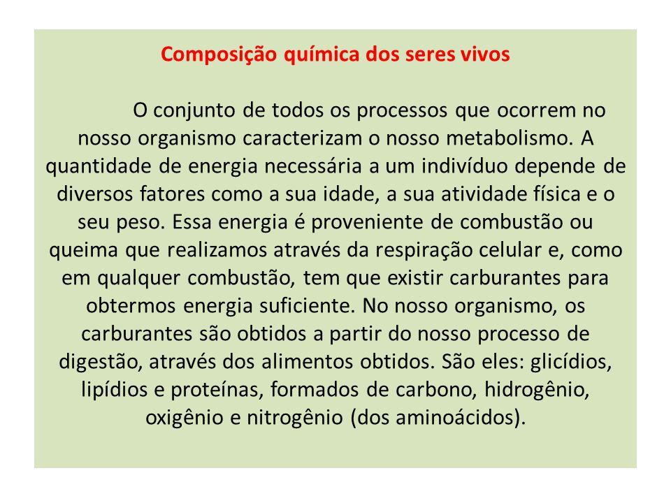 Componentes inorgânicos das células: Água Sais minerais Componentes orgânicos das células: Proteínas Glicídios (carboidratos ou hidratos de carbono) Lipídios Vitaminas Ácidos nucleicos
