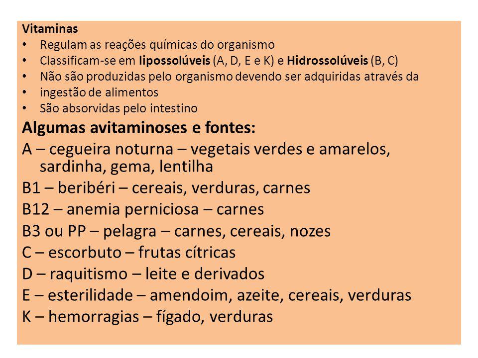 Vitaminas Regulam as reações químicas do organismo Classificam-se em lipossolúveis (A, D, E e K) e Hidrossolúveis (B, C) Não são produzidas pelo organ
