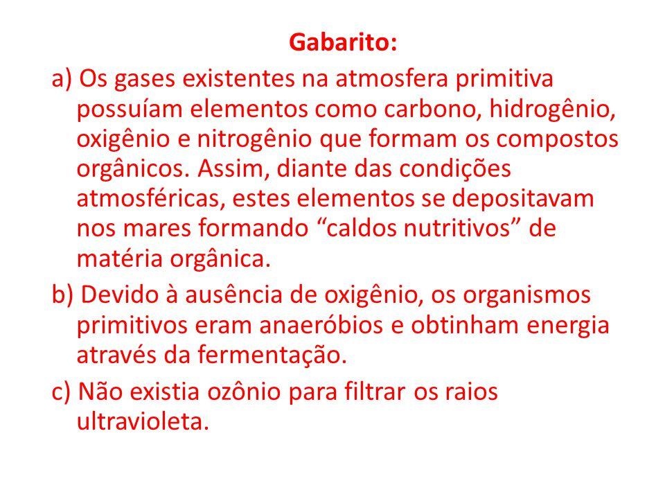 Gabarito: a) Os gases existentes na atmosfera primitiva possuíam elementos como carbono, hidrogênio, oxigênio e nitrogênio que formam os compostos org