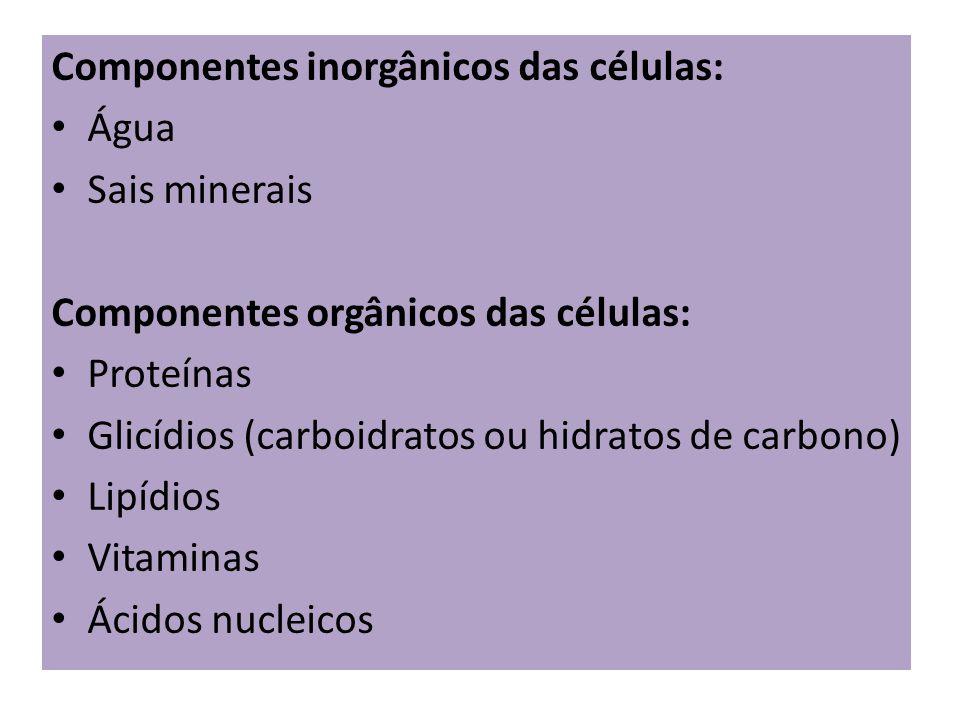 Componentes inorgânicos das células: Água Sais minerais Componentes orgânicos das células: Proteínas Glicídios (carboidratos ou hidratos de carbono) L