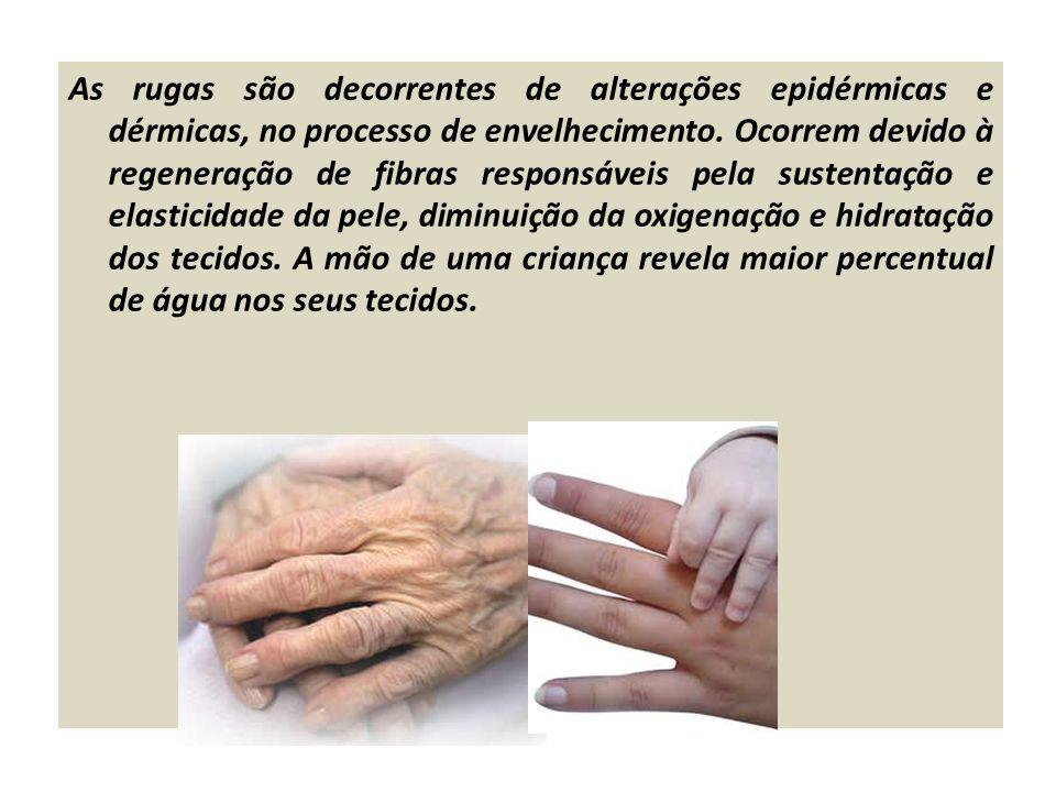 As rugas são decorrentes de alterações epidérmicas e dérmicas, no processo de envelhecimento. Ocorrem devido à regeneração de fibras responsáveis pela