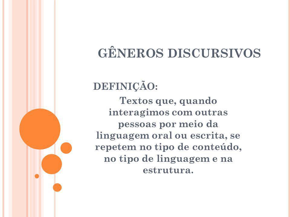 GÊNEROS DISCURSIVOS DEFINIÇÃO: Textos que, quando interagimos com outras pessoas por meio da linguagem oral ou escrita, se repetem no tipo de conteúdo