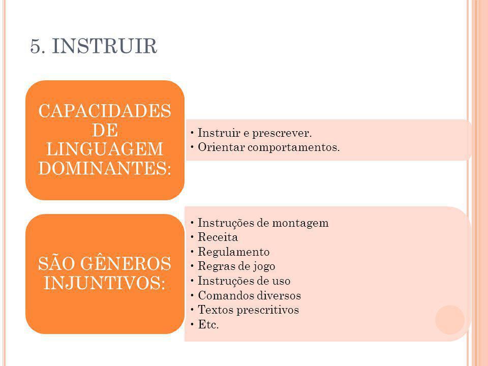5. INSTRUIR Instruir e prescrever. Orientar comportamentos. CAPACIDADES DE LINGUAGEM DOMINANTES: Instruções de montagem Receita Regulamento Regras de