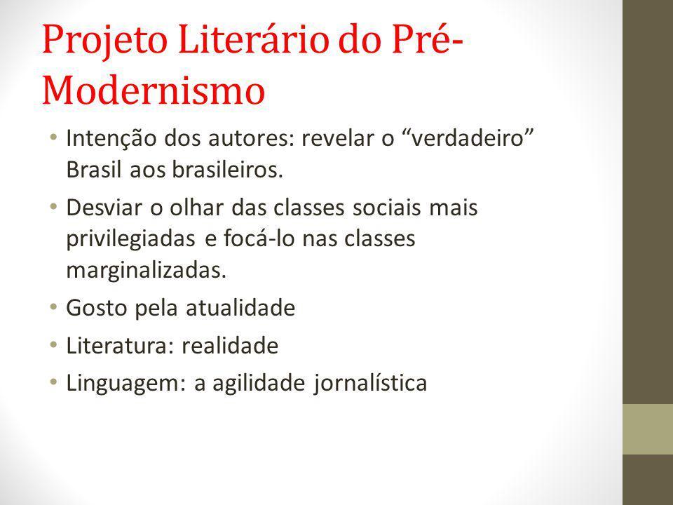 Projeto Literário do Pré- Modernismo Intenção dos autores: revelar o verdadeiro Brasil aos brasileiros. Desviar o olhar das classes sociais mais privi