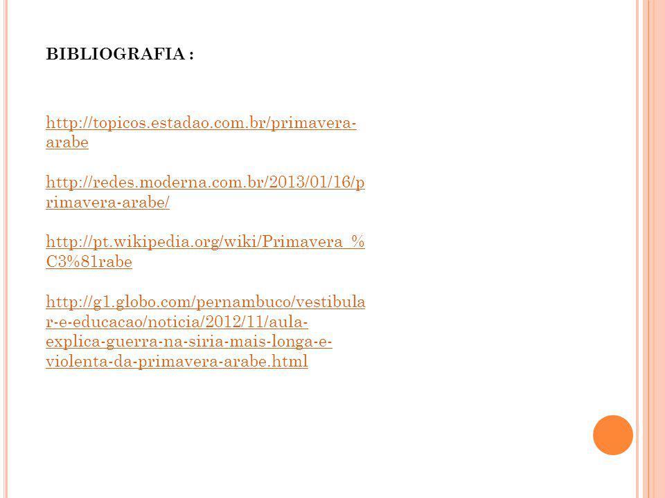 http://topicos.estadao.com.br/primavera- arabe http://redes.moderna.com.br/2013/01/16/p rimavera-arabe/ http://pt.wikipedia.org/wiki/Primavera_% C3%81