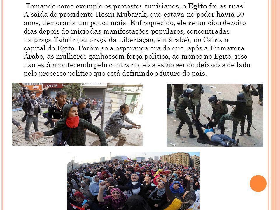 Tomando como exemplo os protestos tunisianos, o Egito foi as ruas.