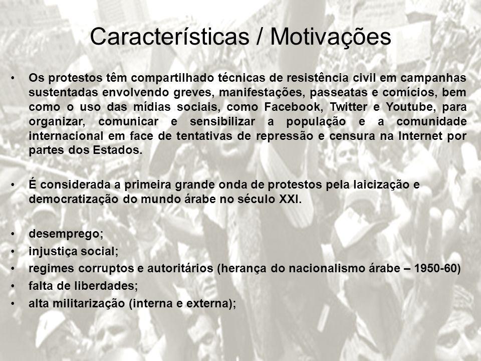 Características / Motivações Os protestos têm compartilhado técnicas de resistência civil em campanhas sustentadas envolvendo greves, manifestações, p