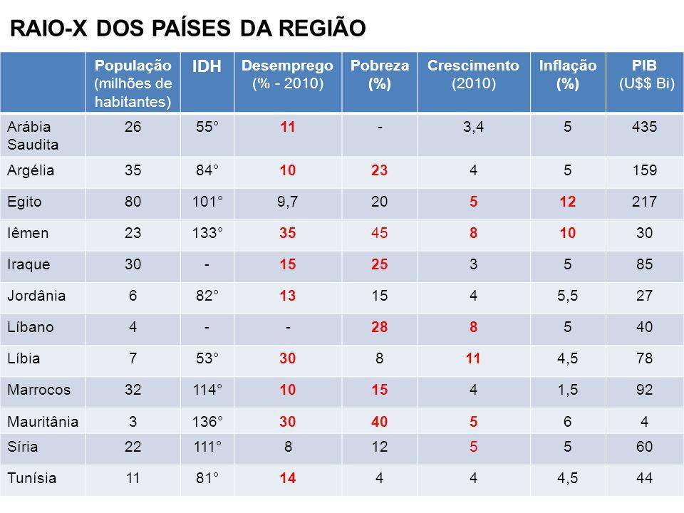 RAIO-X DOS PAÍSES DA REGIÃO População (milhões de habitantes) IDH Desemprego (% - 2010) Pobreza (%) Crescimento (2010) Inflação (%) PIB (U$$ Bi) Arábi