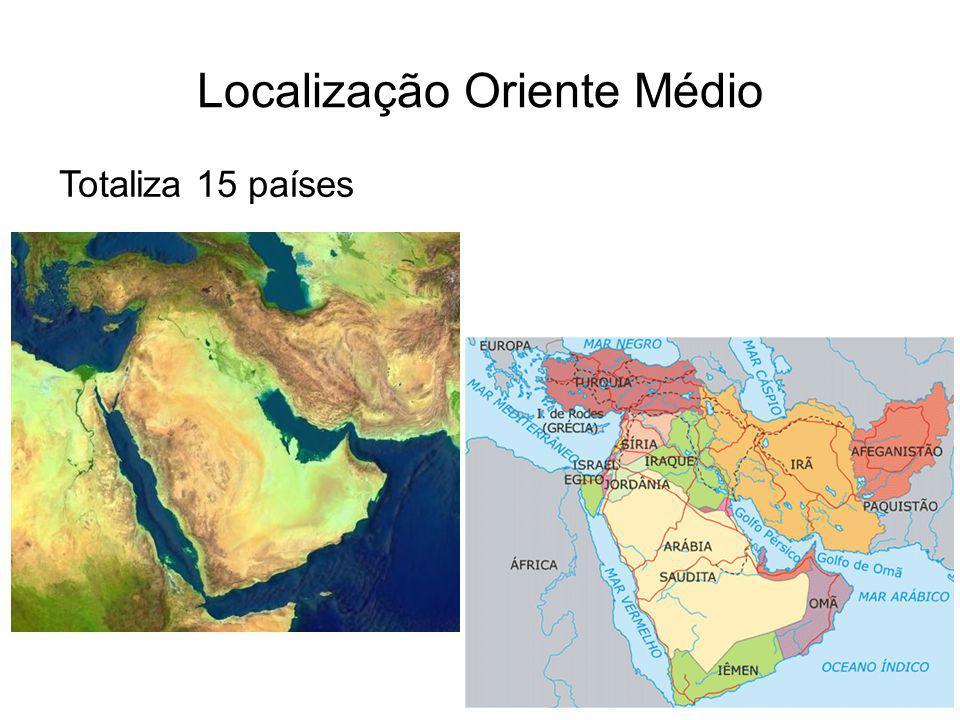 Localização Oriente Médio Totaliza 15 países