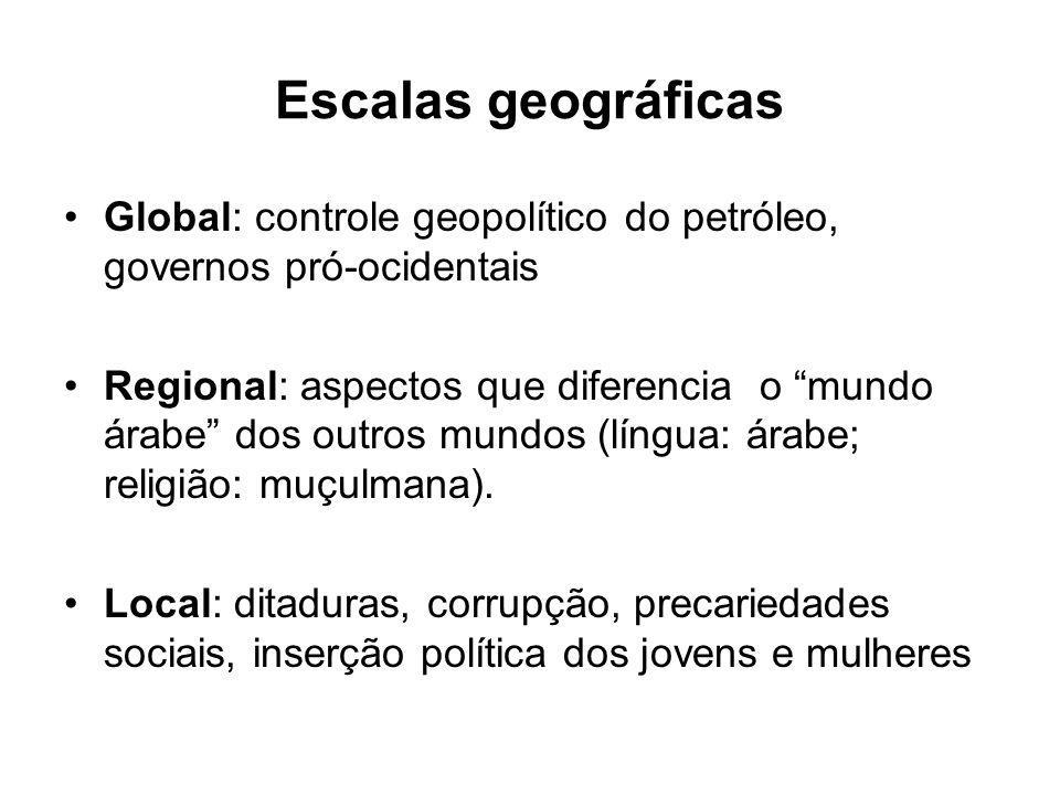 Escalas geográficas Global: controle geopolítico do petróleo, governos pró-ocidentais Regional: aspectos que diferencia o mundo árabe dos outros mundo